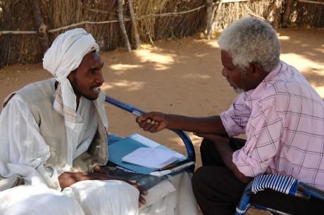 An oral testimony interview in Sudan's desert region