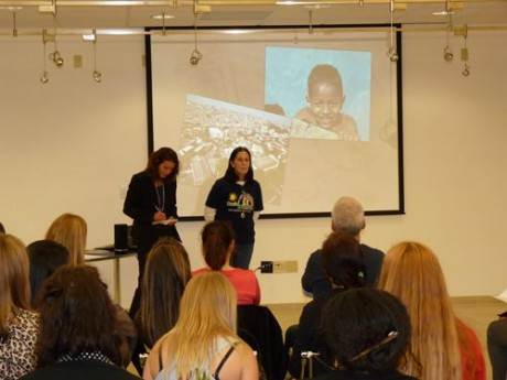 Tia Dag addresses students at the University of San Francisco