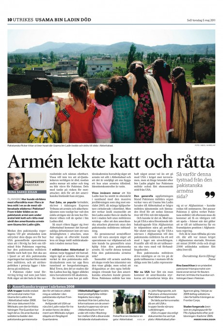 Analysis on Osama bin Laden's death by Rina Saeed Khan in Svenska Dagbladet