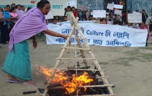 Women in Manipur organise symbolic burnings of toy guns in protest against gun culture