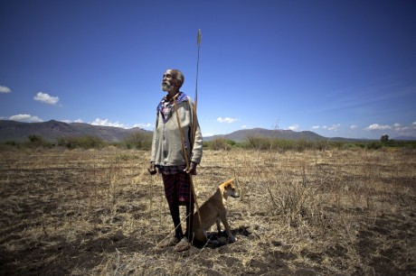 An elderly member of the Turkana community stands in a field which has not produced since 1997 due to lack of water - Frederic Courbet / Panos Pictures