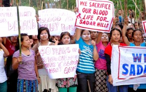 Women supporters of Sadar Hills District Demand protest with placards
