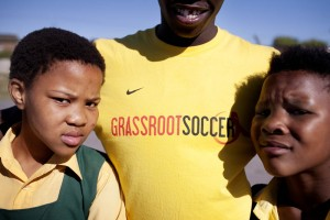 Portrait of Likhona and Andile the group facilitator at Hlengisa Primary School, Nyanga Township, Cape Town, South Africa - Nikki Rixon | Panos London