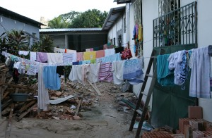 Clothesline in a female accommodation for Haitian refugees - Lilo Clareto | Panos London