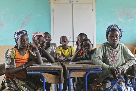 Children in the village school in Gwelekoro, Mali