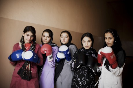 Members of the Afghan women's national boxing team pose in the hallway of the Olympic Stadium, Kabul - Mikhail Galustov | Panos Pictures