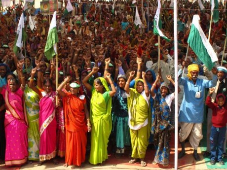 Villagers take part in a non-violent march to demand their rights to land and resources - Ekta Parishad