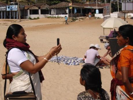 Bhan Sahu interviewing people in rural India - Stella Paul | Panos London